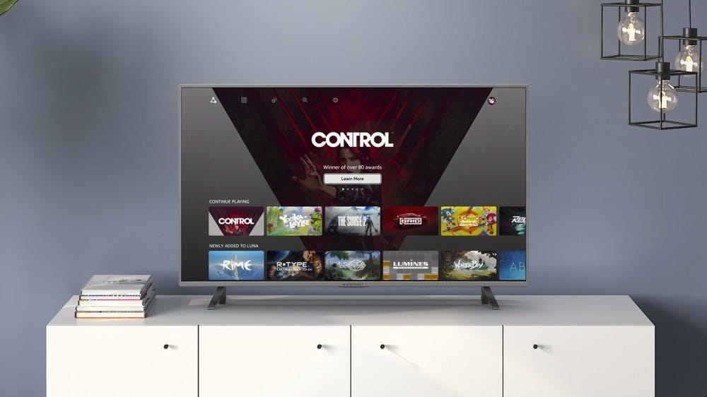 "A TV on a stand showing ""Control"" from the Luna service."