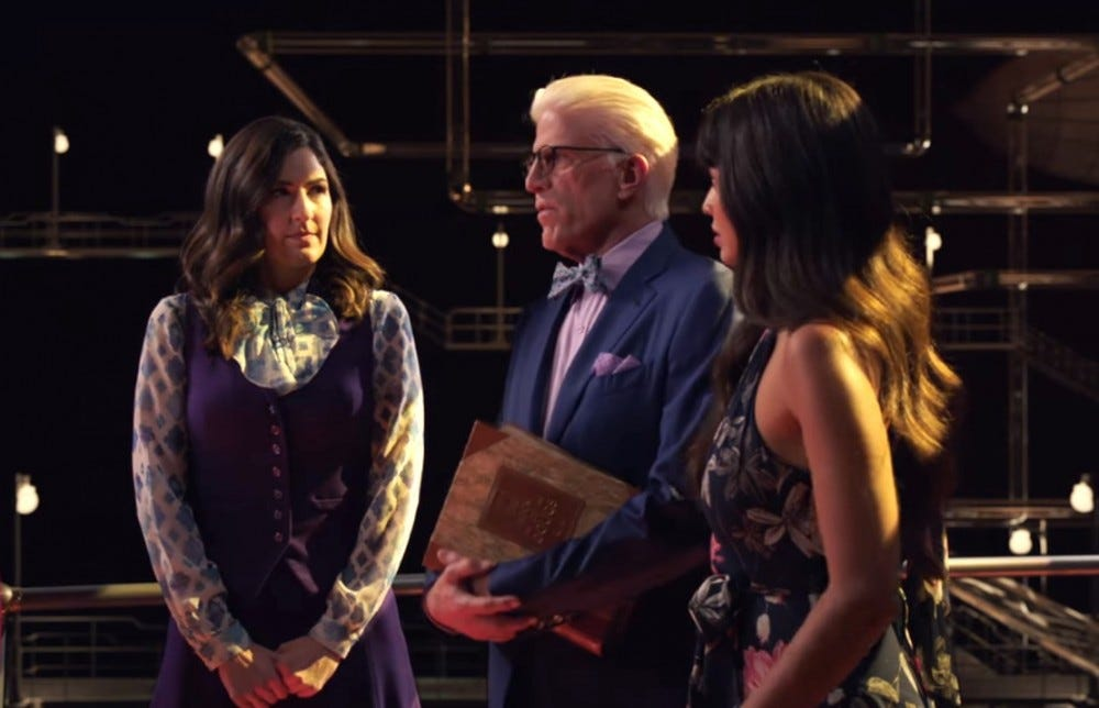 The Good Place, Michael, Janet, and Tahani
