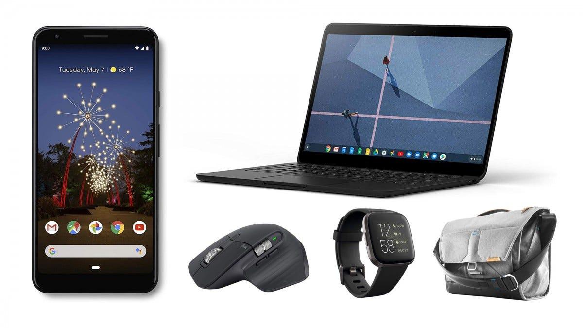 Pixel 3a XL, Chromebook Go, Mx Master 3, Fitbit Versa 2, Peak Design messenger bag