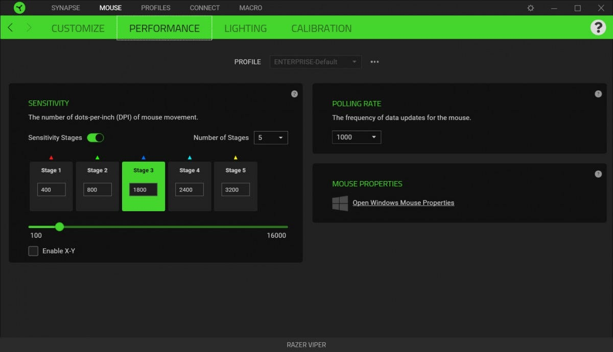 The DPI settings page in Razer Synapse.