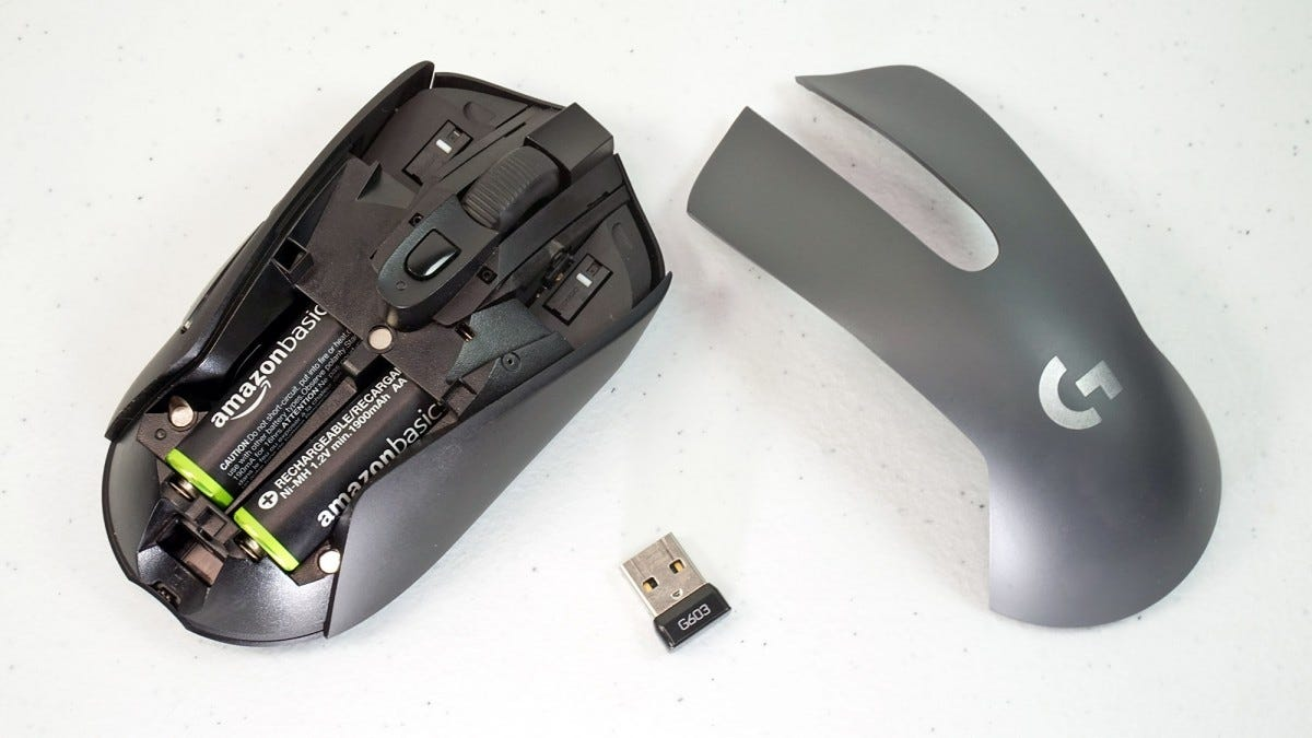 The Logitech G603, with battery compartment exposed.