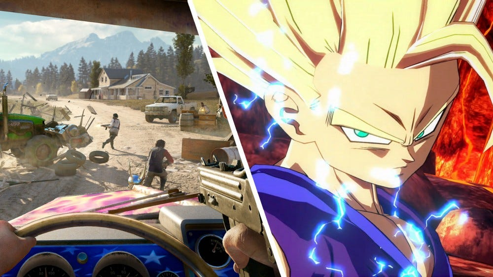 Screenshots of Far Cry 5 and Dragon Ball FighterZ