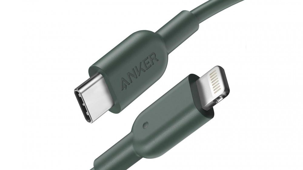 A photo of the Anker Powerline USB-C to Lightning cable.