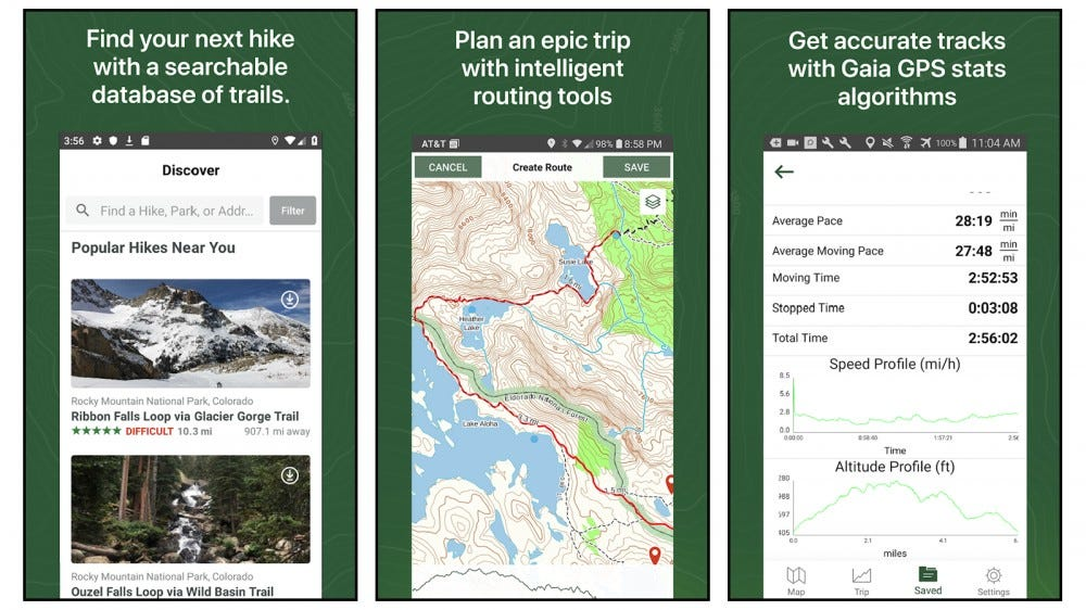 Gaia GPS best premium hiking app national geographic maps usgs maps plan hiking trips apps for hunting skiing camping backpacking off-roading