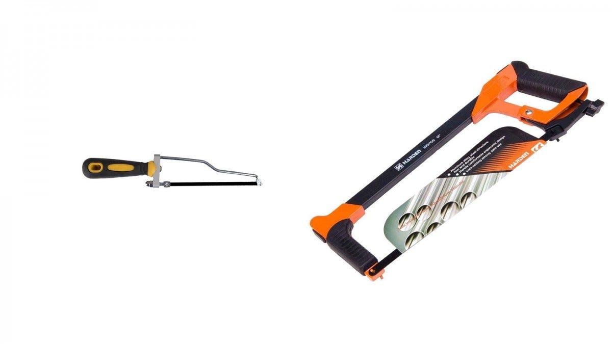 A Slim Gem Tools hacksaw next to a Har-Den hacksaw.