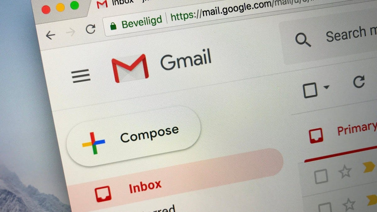 A closeup of Gmail open in a Safari browser