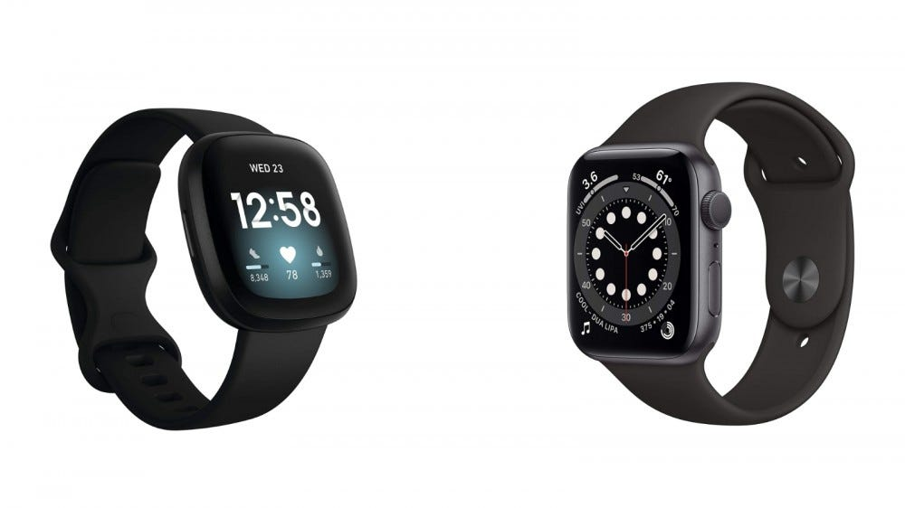 Fitbit Versa 3 and Apple Watch