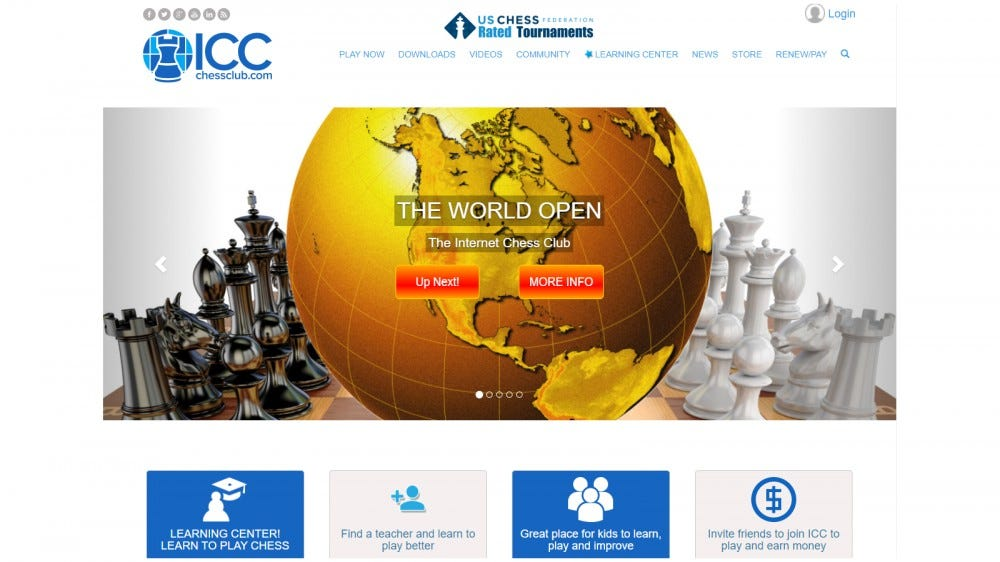 Internet Chess Club home page with site features and tournament info