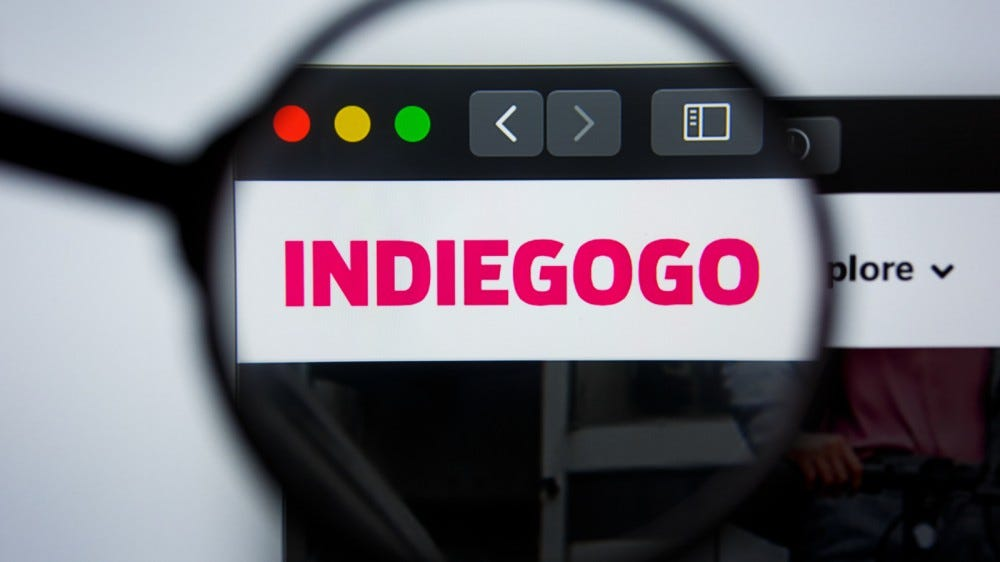 Indiegogo homepage logo visible on display screen