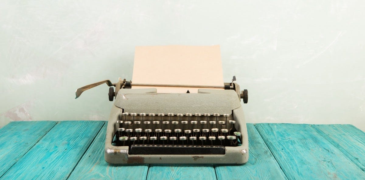 Vintage typewriter on a wooden table