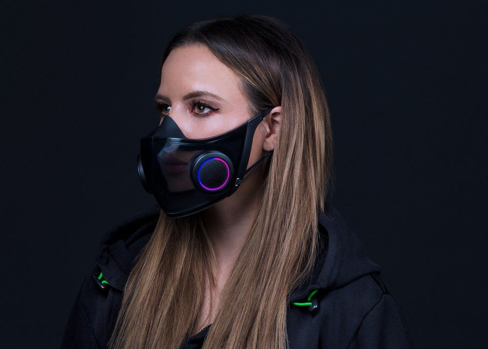 Razer Project Hazel face mask on female model