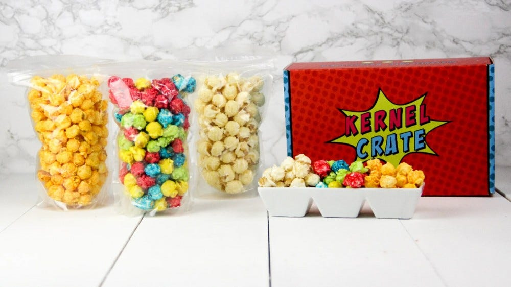 Kernel Crate box with different flavors of colorful popcorn