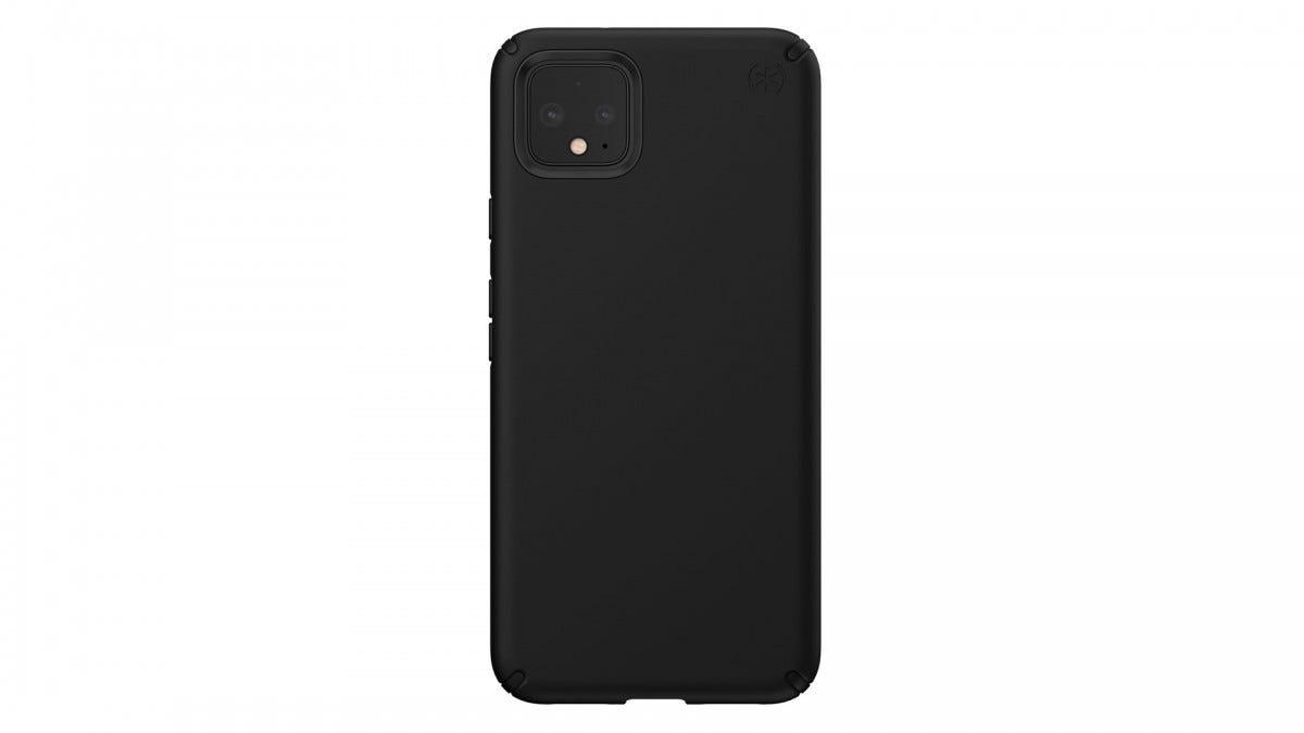 A Google Pixel 4 in a Speck case.
