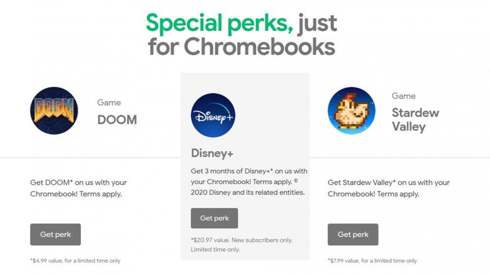 A screenshot of Chromebook Perks.