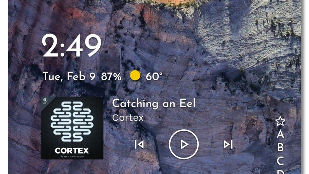 Niagara Launcher Niagara widget displaying time, weather, and music app info