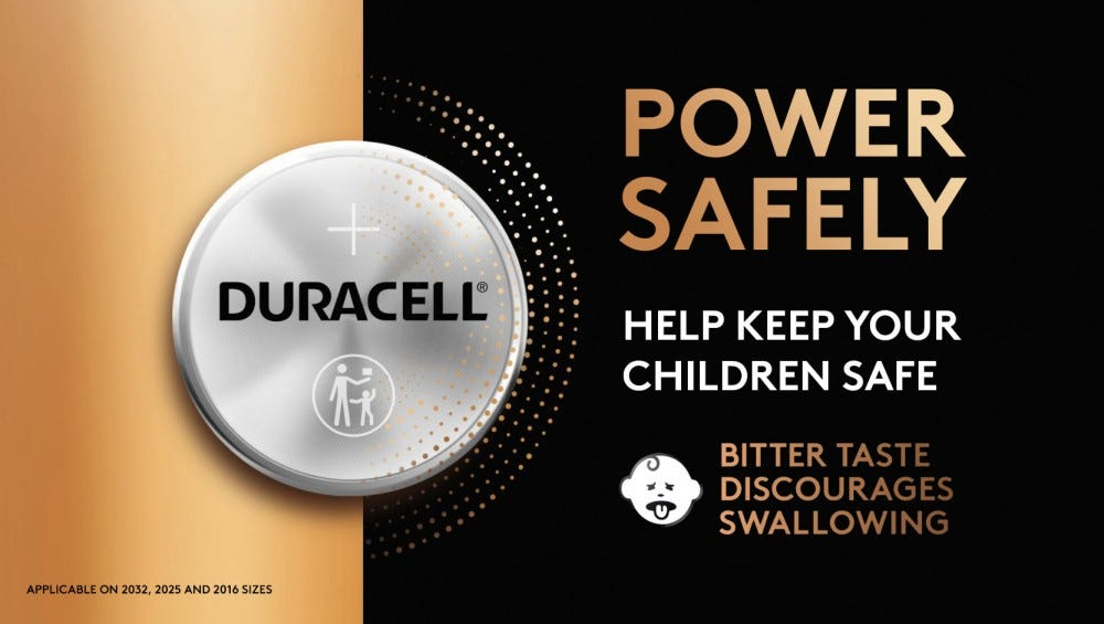 A promotional image for Duracell's new, bad-tasting batteries