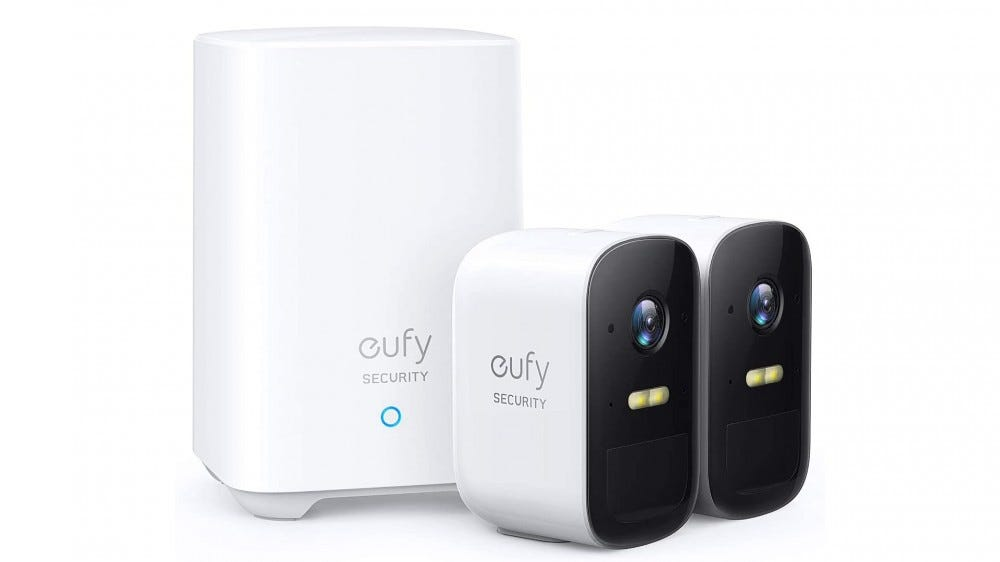 A photo of the eufycam 2C security system.