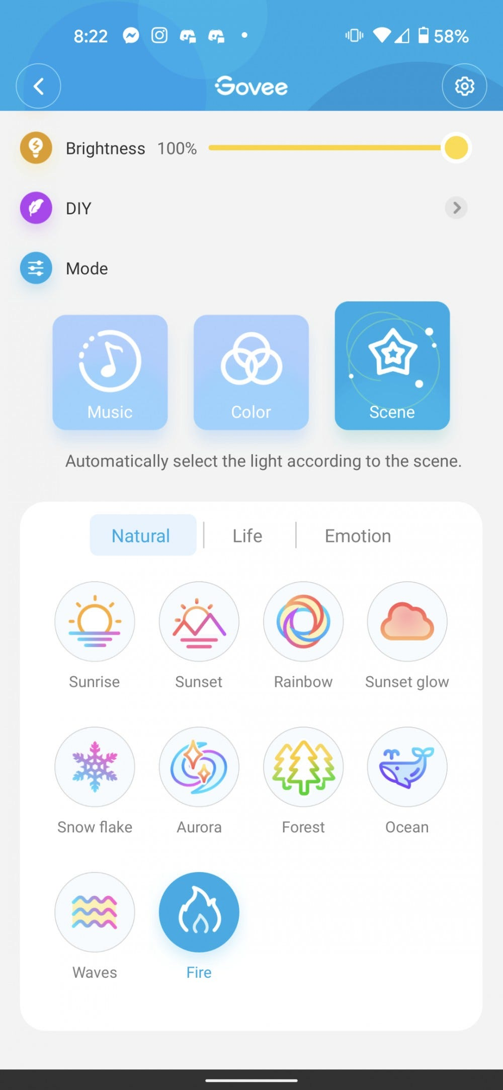 The Govee app showing the Aura Lamp's scenes