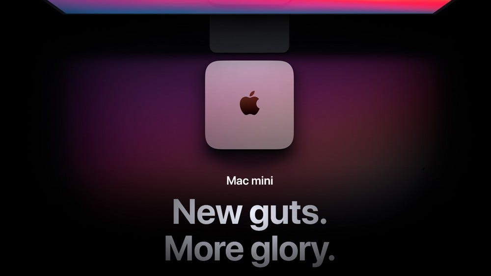 """The Mac Mini with the catchphrase """"new guts, more glory."""""""