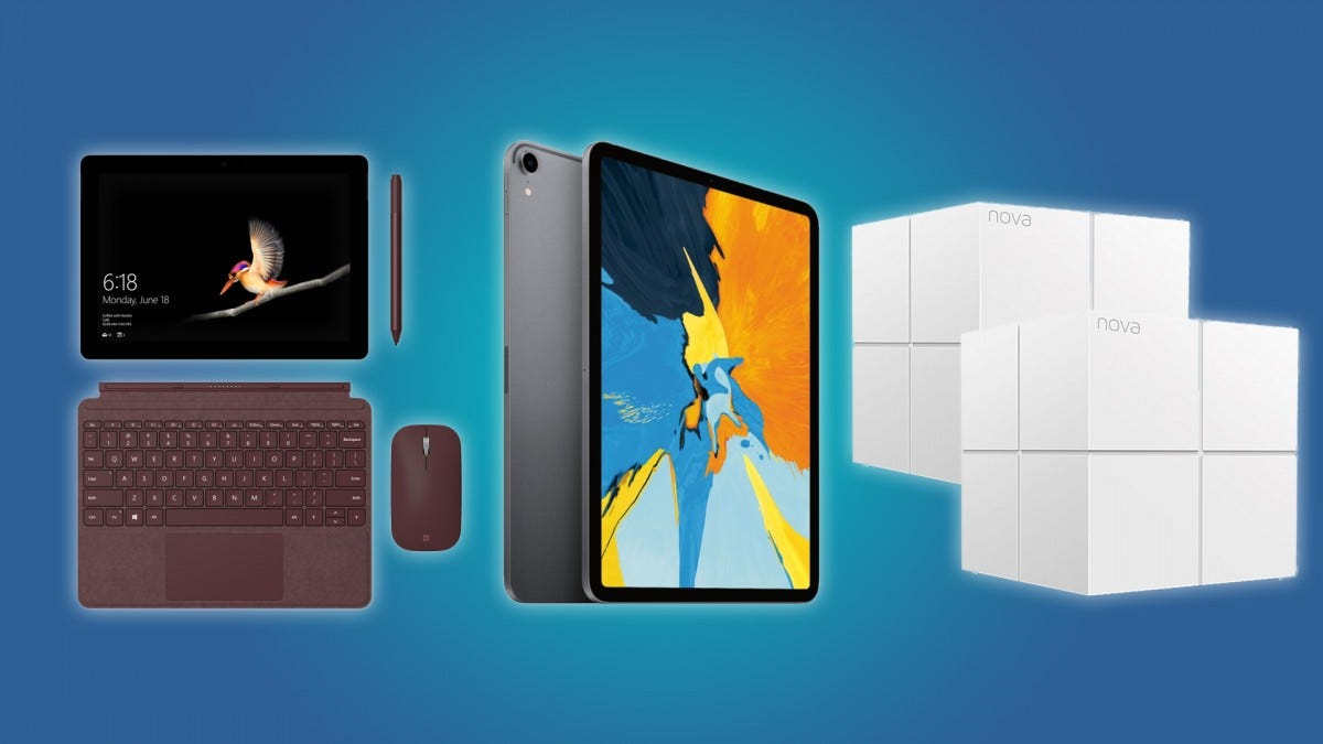 The Microsoft Surface Go, the iPad Pro, and the Tenda Nova Mesh-Wifi System