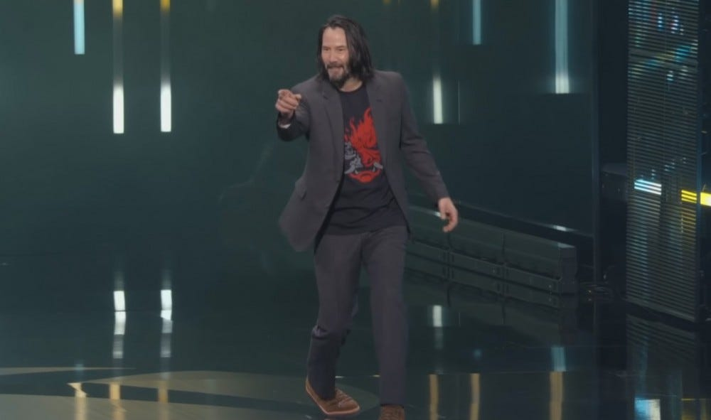 Keanu Reeves, promoting Cyberpunk 2077 (and his starring role) at E3.