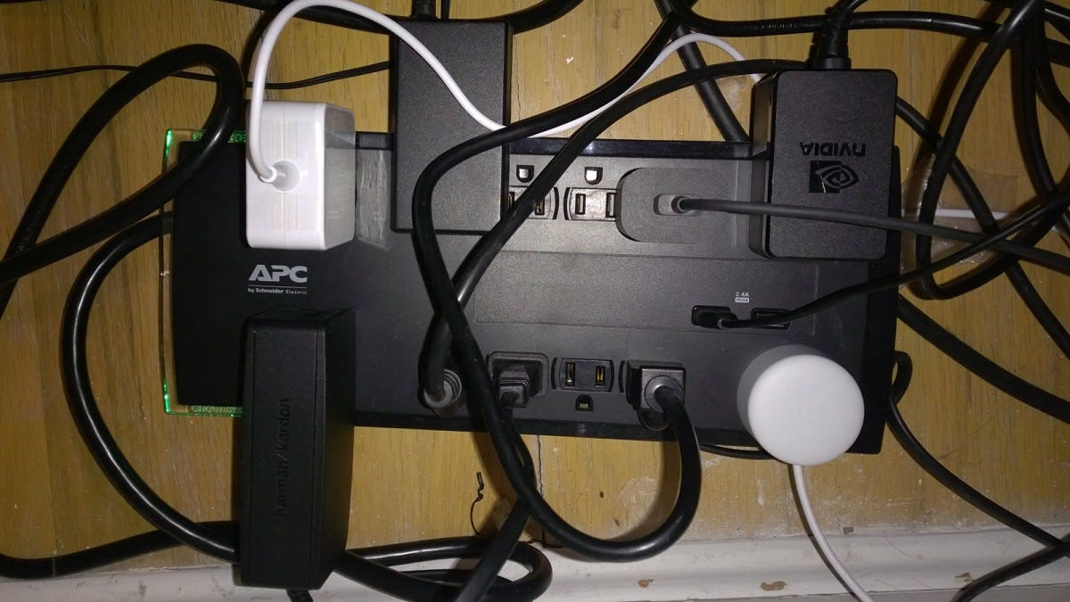 Power strip with a whole bunch of power bricks