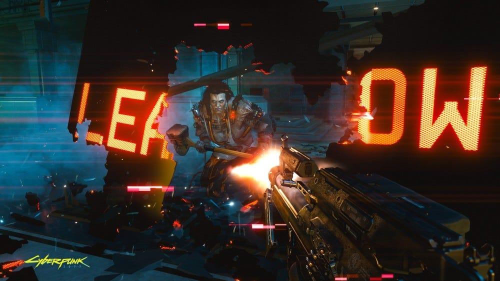 Cyberpunk 2077 screenshot: shooting at a man with a sledgehammer