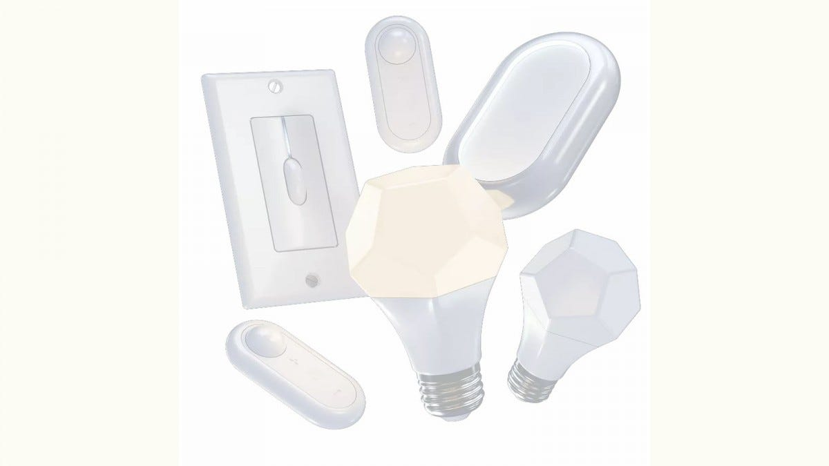 Two smart bulbs, two smart switches, and two smart sensors.