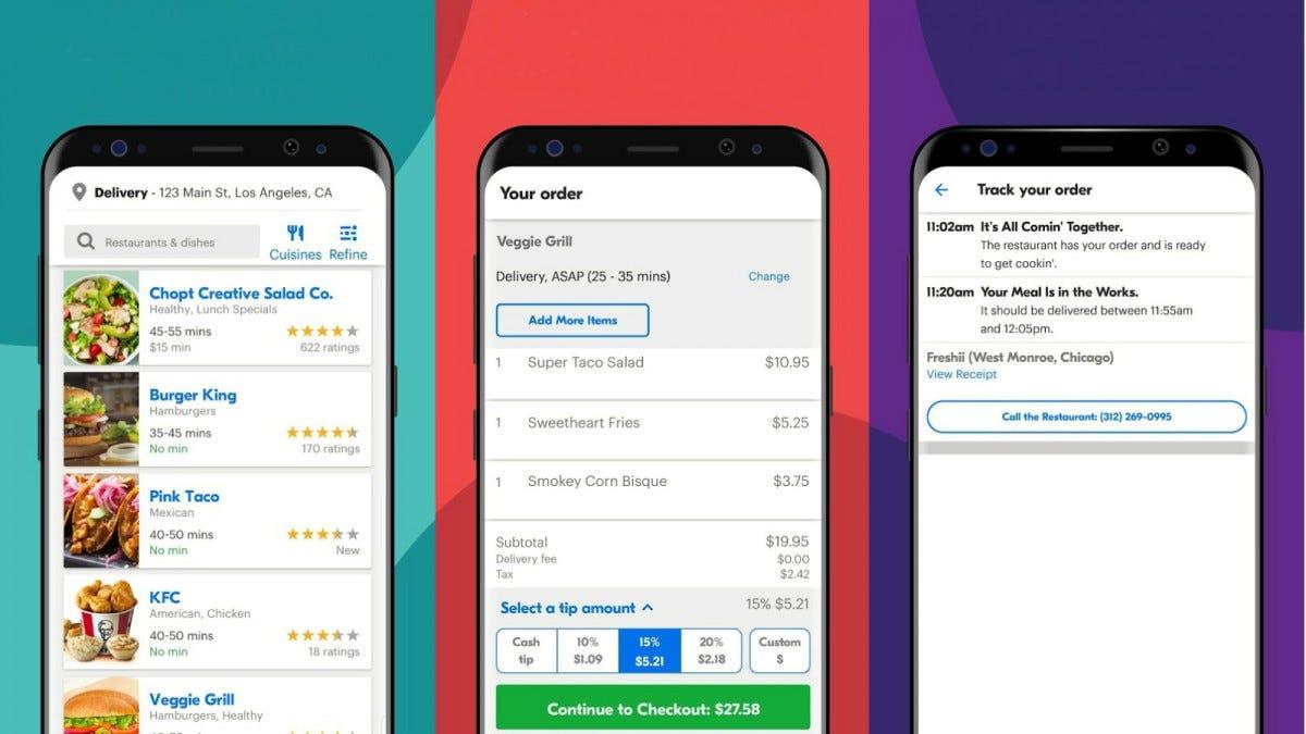 Several screenshots of the Grubhub app