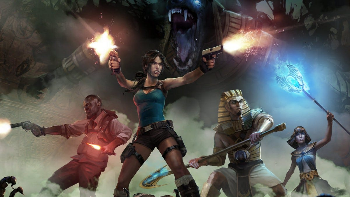 Lara Croft standing in front of monster, firing guns.