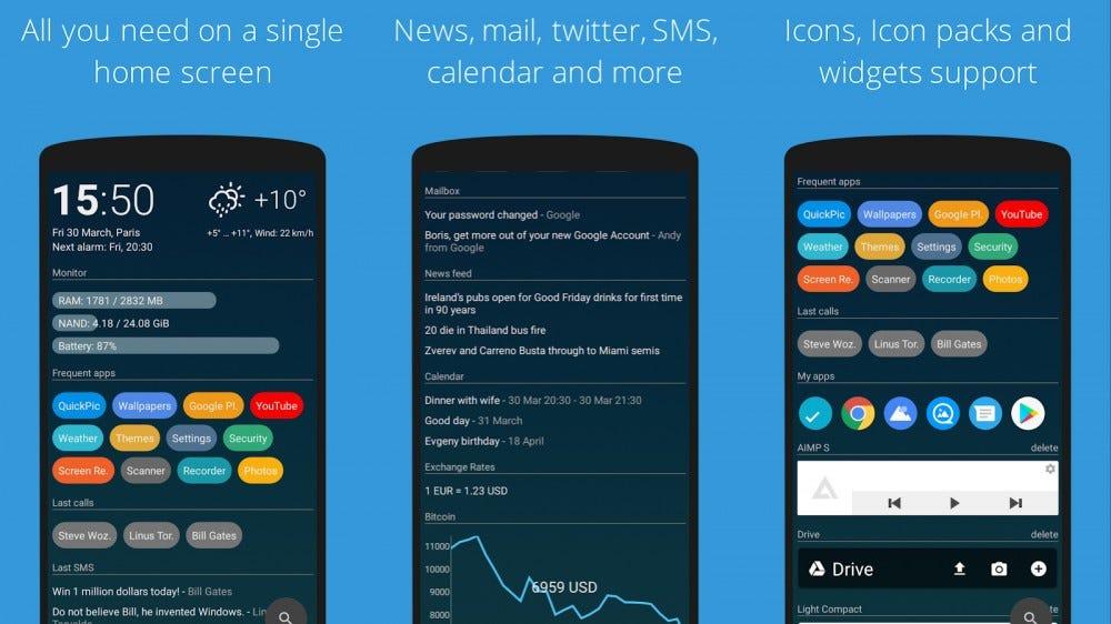 Screenshots of AIO Launcher