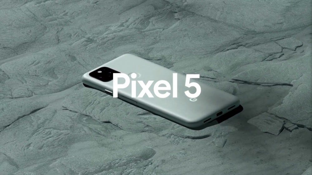 A Pixel 5 on a blanket-like textured surface.