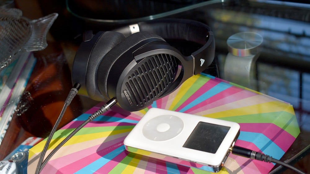 The Audeze LCD-1s plugged into an iPod.