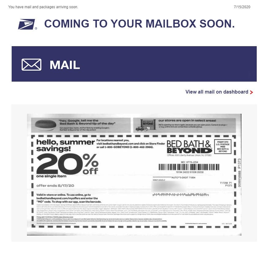 A screenshot of the Informed Delivery Digest showing a piece of junk mail form Bed, Bath, and Beyond
