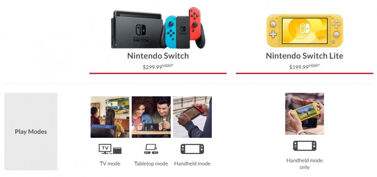 Nintendo Switch vs. Switch Lite