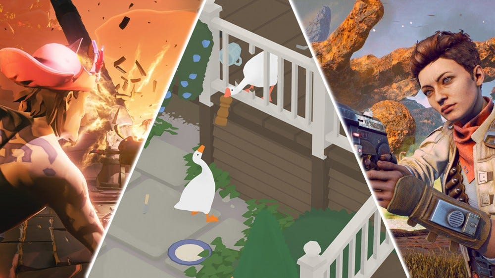 An illustration of 'Sea of Theives,' 'Untitled Goose Game,' and 'The Outer Worlds.'
