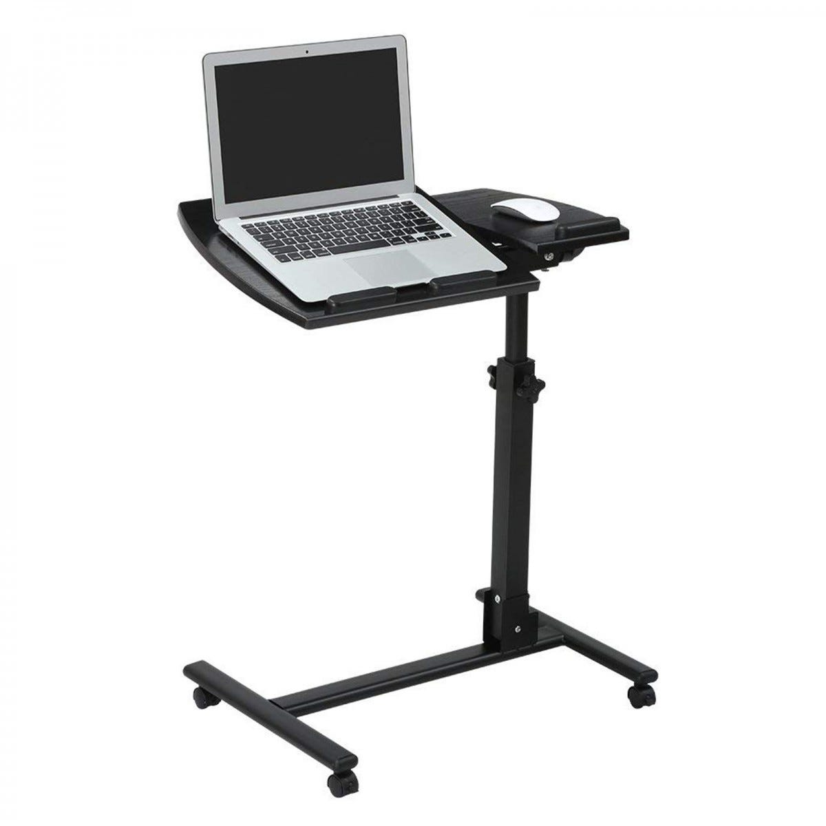 The LANGRIA Laptop Rolling Cart with an open laptop and mouse on it.