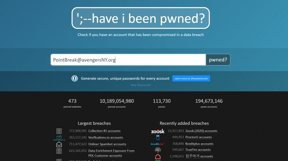 Have I been Pwned screenshot