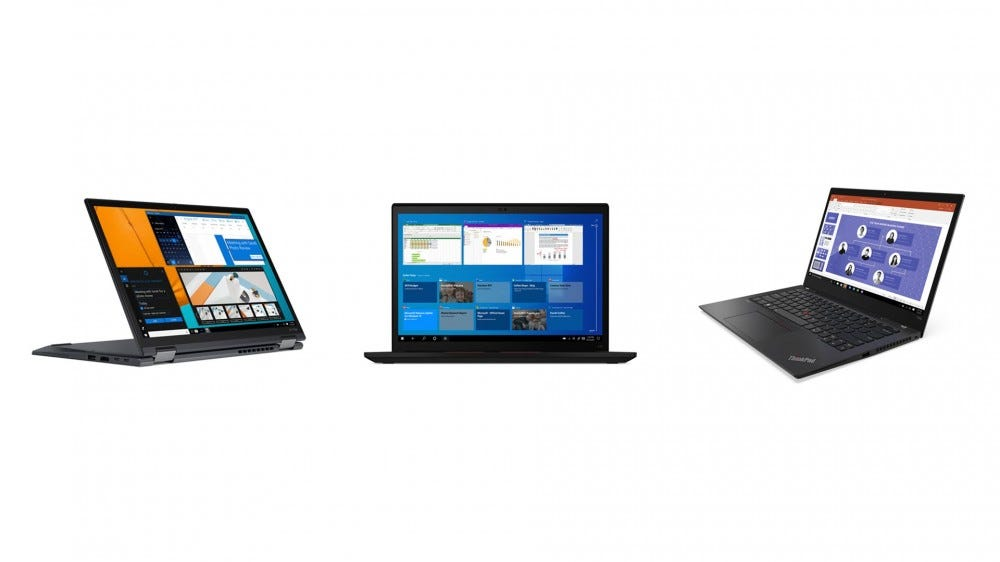 A Lenovo ThinkPad X13 Yoga, T14s and X13 side by side.