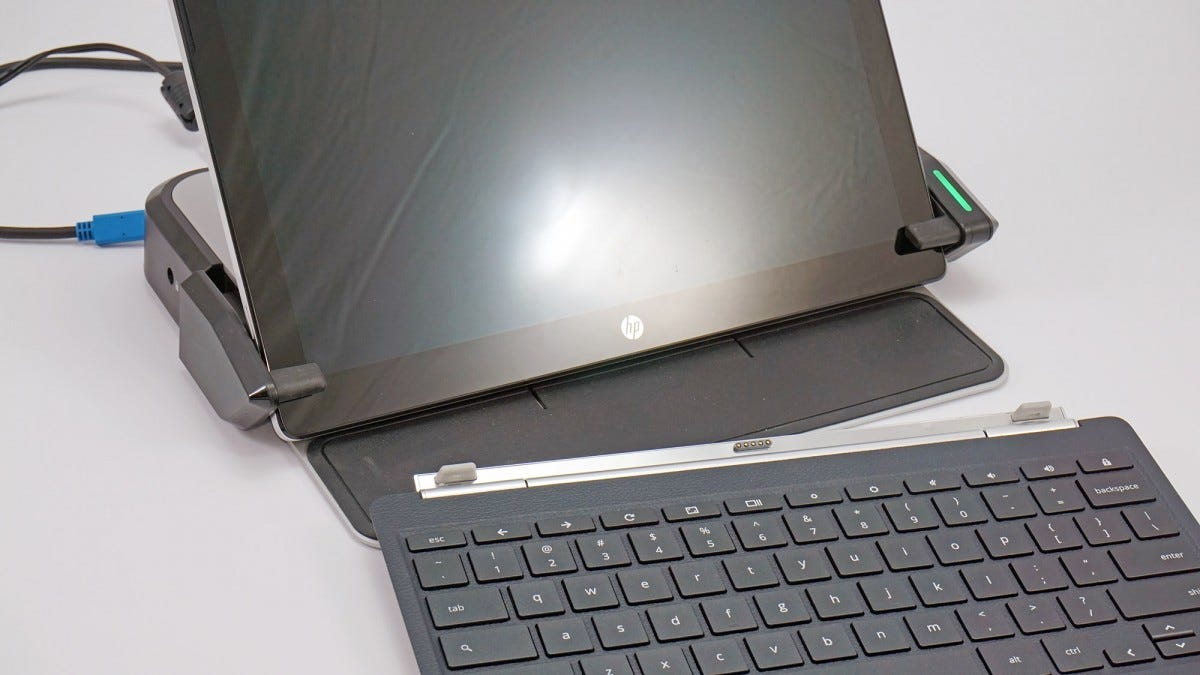 An HP Chromebook and the (unattached) LD4650P dock.