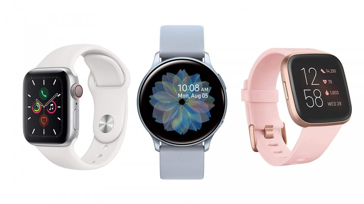 The Samsung Galaxy Watch Active 2, the Apple Watch Series 5, and the FitBit Versa 2