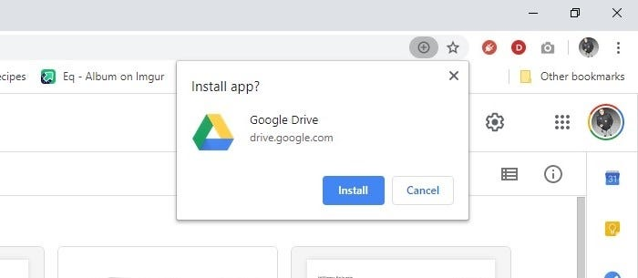 a screenshot of the Google Drive install prompt