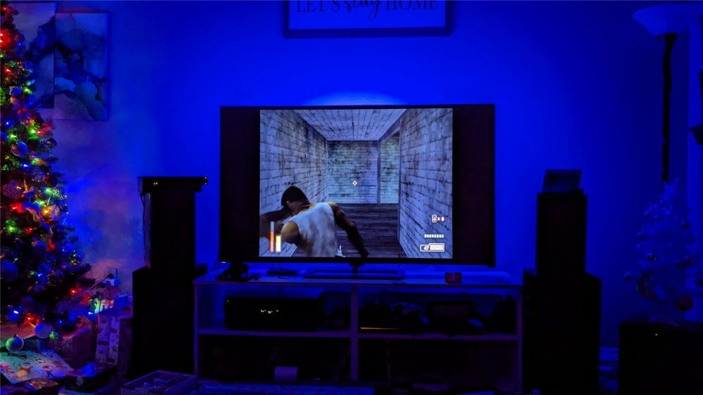 The Immersion showing a blue hue with The Suffering PlayStation 2 game on the TV