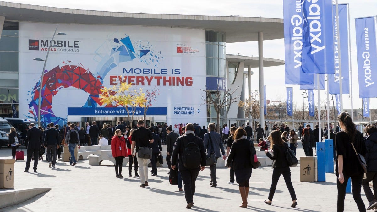 Entrance to MWC at Fira Barcelona.