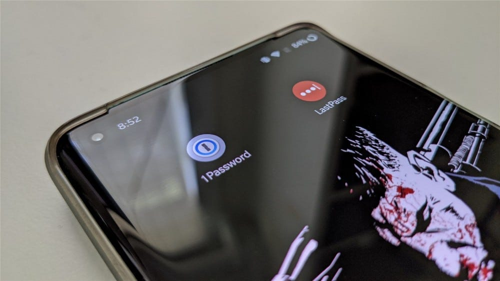An image of the 1Password and LastPass icons on the home screen of a OnePlus 8 Pro