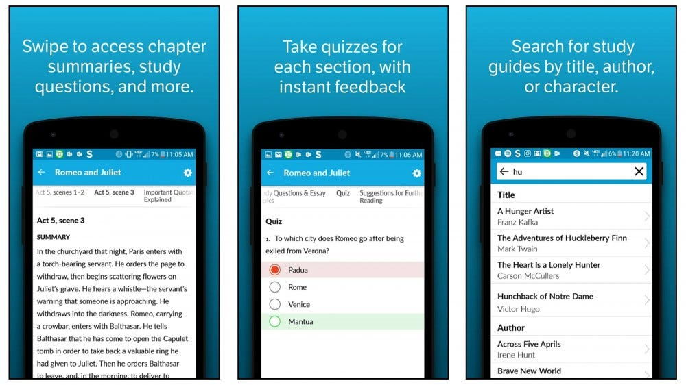 SparkNotes app for studying chapter summaries for literature
