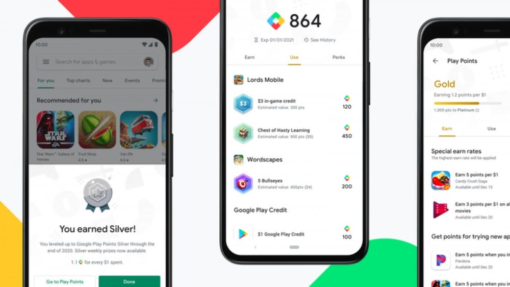 Group of Google Play points menus on a colorful background