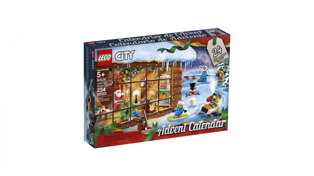 The LEGO City Advent Calendar box, featuring a snowing winter scene.