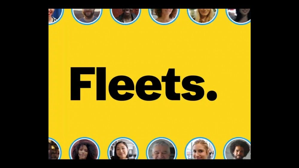 "An illustration of the word ""Fleets"" and Twitter profile pictures."