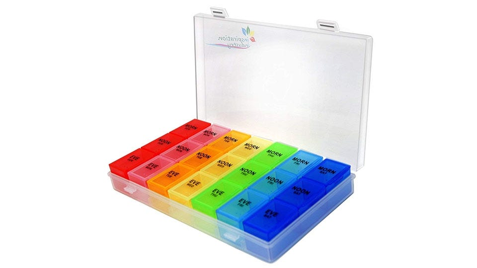 Rainbow Weekly Pill Organizer